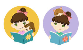 Reading with my pet, cartoon vector illustration. Girl is reading with her cute pet, cartoon vector illustration Royalty Free Stock Images
