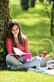 Reading in nature is my hobby Stock Image