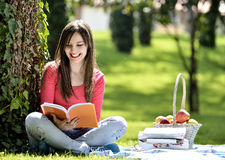Reading in nature is my hobby Royalty Free Stock Photo