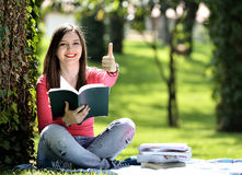 Reading in nature is my hobby Stock Photography