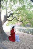 Reading in nature is my hobby, girl Read  book sit under big tree Stock Images
