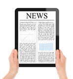 Reading News On Tablet PC Royalty Free Stock Photos