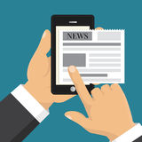 Reading news on screen of smartphone. Hand holding mobile phone. Flat design. Vector illustration. Reading news on screen of smartphone. Hand holding mobile royalty free illustration