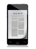 Reading news on touch screen phone illustration Stock Images