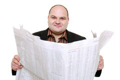 Reading newspaper Stock Photo