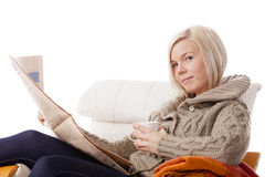 Reading the newspaper Stock Photography