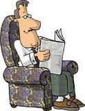 Reading the newspaper stock illustration