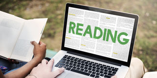 Reading Newspaper Book Education Media Concept Stock Images