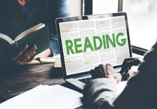 Reading Newspaper Book Education Media Concept Royalty Free Stock Photos