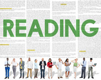 Reading Newspaper Book Education Media Concept Royalty Free Stock Photo
