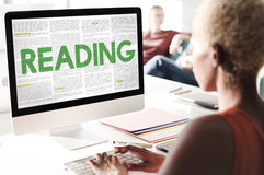 Reading Newspaper Book Education Media Concept Royalty Free Stock Photography