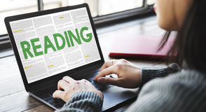 REading Newspaper Book Education Media Concept Stock Photos