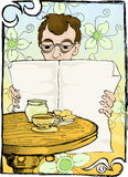 Reading newspaper with coffee. Illustration of man reading newspaper with glass of coffee, and snack Stock Image