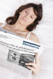 Reading the newspaper Stock Photos