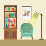 Reading nook with armchair and floor lamp. Reading nook in living space with blue armchair, floor lamp and abstract picture. Vector illustration Stock Image