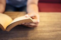 Reading Old Book Stock Image