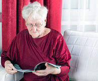 Reading old woman Royalty Free Stock Images