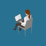 Reading online book. Girl sitting on chair and reading online book isometric vector illustration Royalty Free Stock Images