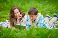 Reading online Stock Photos