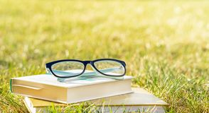 Reading in the open air. Outdoor recreation reading a book. stock images