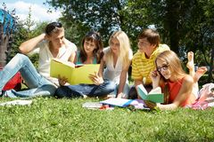 Reading outside Stock Image