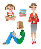 Reading people. People and books. Vector illustration Stock Image