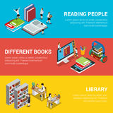 Reading people different book library 3d flat isom. Flat isometric banners with reading people, different online or audio books and library shelves vector Stock Photography