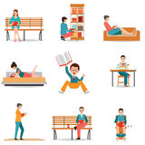 Reading people flat character set with books magazines newspaper Stock Image