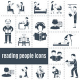 Reading People Icons Set. Reading people black white icons set with books and press flat isolated vector illustration Royalty Free Stock Photos