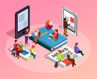 Reading People Isometric Composition. Women men and family sitting on books newspapers and read vector illustration stock illustration