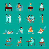 Reading People Set. Reading people laying sitting and standing figures set isolated vector illustration Stock Photo
