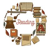 Reading promotional poster with old books and ancient relics Royalty Free Stock Photography