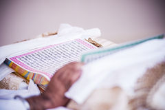 Reading Punjabi Writings. View of a person reading a thick book written in Punjabi language Stock Photo