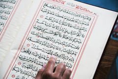 Reading the Quran. Young woman reading the Quran in the mosque royalty free stock image