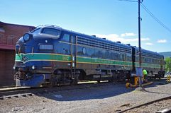 Reading Railroad locomotive, Scranton, PA, USA. Reading Railroad RDG 902 and 903 are a EMD FP7A diesel locomotives in Steamtown National Historic Site in stock photos