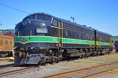 Reading Railroad locomotive, Scranton, PA, USA. Reading Railroad RDG 902 and 903 are a EMD FP7A diesel locomotives in Steamtown National Historic Site in stock photo