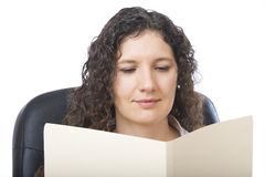 Reading a report Stock Photo