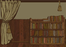 Reading room. Old reading room. Vintage drawing Stock Photos