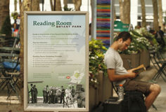 Reading Room in Bryant Park. This was shot at Bryant Park, Manhattan of New York City on August 21, 2010. The open-air Reading Room opens from 11:00 a.m. to 7 p royalty free stock photography