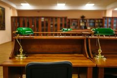 Reading room, rows of table in university library. Nobody. Knowledge depository stock photo