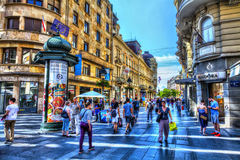 Reading room. SERBIA, BELGRADE - JULY 26: French Reading Room on July 26, 2017 in Belgrade. Kneza Mihajla Street, French Reading Room, shops and people, HDR Royalty Free Stock Photos