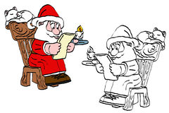 Reading santa claus cartoon Stock Photos