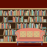 Reading Seat In Front Of A Bookcase Royalty Free Stock Images