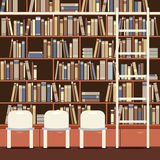 Reading Seat In Front Of A Huge Bookcase Stock Images