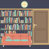 Reading Seat In Front Of A Huge Bookcase Royalty Free Stock Image