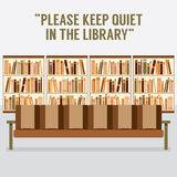 Reading Seats In Front Of A Bookcase With Forbidden Message Royalty Free Stock Photo