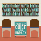 Reading Seats In Front Of A Bookcase With Forbidden Poster Royalty Free Stock Images