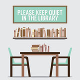 Reading Seats In Front Of A Bookcase With Forbidden Poster Royalty Free Stock Photos