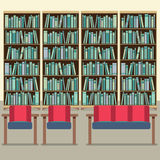 Reading Seats In Front Of A Bookcase Royalty Free Stock Photo