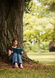 Reading in the Shade. Middle school girl reading in the shade of a large tree in a park-like setting Stock Photography